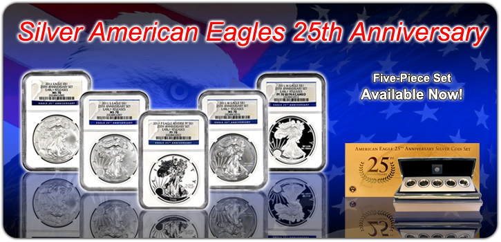 Silver American Eagles 5pc set