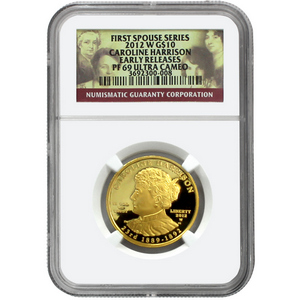 2012 W First Spouse Caroline Harrison Half Ounce Gold PF69 UC ER NGC
