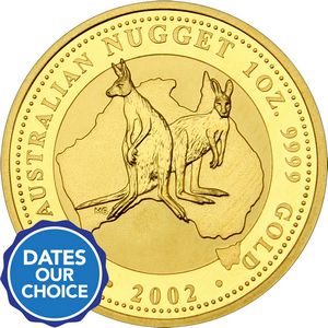 Australia Gold Kangaroo Nugget 1oz BU Date Our Choice