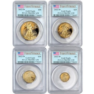 2013 W Gold American Eagle 1oz Half Ounce Quarter Ounce and Tenth Ounce Proof Set PR69 DCAM FS PCGS 4pc Set