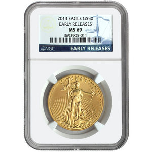 2013 Gold American Eagle 1oz MS69 ER NGC Blue Label