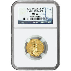 2013 Gold American Eagle Quarter Ounce MS69 ER NGC Blue Label