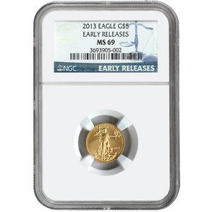 2013 Gold American Eagle Tenth Ounce MS69 ER NGC Blue Label