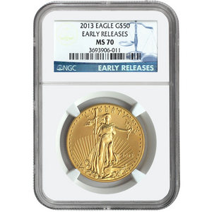 2013 Gold American Eagle 1oz MS70 ER NGC Blue Label