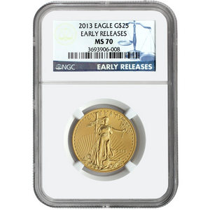 2013 Gold American Eagle Half Ounce MS70 ER NGC Blue Label