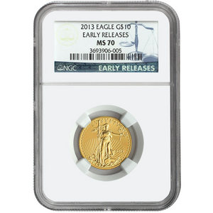 2013 Gold American Eagle Quarter Ounce MS70 ER NGC Blue Label