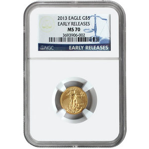 2013 Gold American Eagle Tenth Ounce MS70 ER NGC Blue Label