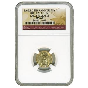 2011 Gold American Eagle 25th Anniversary Tenth Ounce MS69 ER NGC Red Label