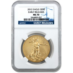 2012 Gold American Eagle 1oz MS70 ER NGC Blue Label