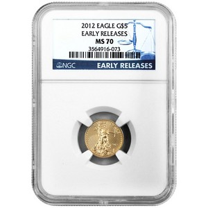 2012 Gold American Eagle Tenth Ounce MS70 ER NGC Blue Label