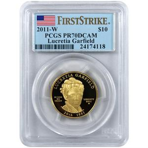 2011 W First Spouse Lucretia Garfield  Half Ounce Gold Coin PR70 DCAM FS PCGS