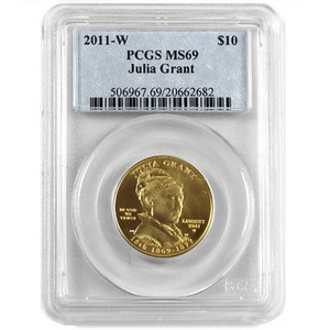 2011 W First Spouse Julia Grant Half Ounce Gold Coin MS69 PCGS