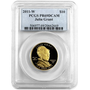 2011 W First Spouse Julia Grant Half Ounce Gold Coin PR69 DCAM PCGS