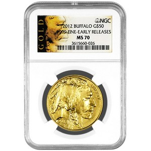 2012 Gold Buffalo 1oz MS70 ER NGC Buffalo Label