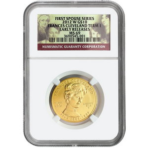 2012 W First Spouse Frances Cleveland First Term Half Ounce Gold Coin MS69 ER NGC