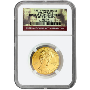 2012 W First Spouse Frances Cleveland First Term Half Ounce Gold Coin MS70 ER NGC