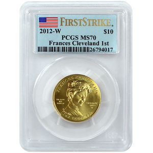2012 W First Spouse Frances Cleveland First Term Half Ounce Gold Coin MS70 FS PCGS