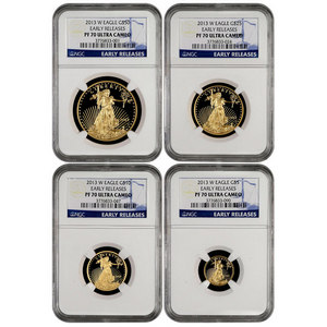 2013 W Gold American Eagle 1oz Half Ounce Quarter Ounce and Tenth Ounce Proof Set PF70 UC ER NGC Blue Label 4pc Set