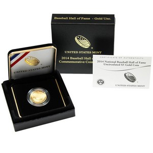 2014 W Baseball Hall of Fame $5 Gold UNC in OGP
