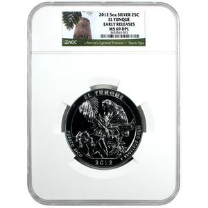 2012 America The Beautiful Silver 5oz El Yunque MS69 DPL ER NGC