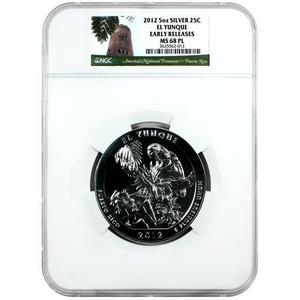 2012 America The Beautiful Silver 5oz El Yunque MS68 PL ER NGC