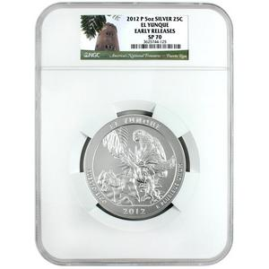 2012 P America The Beautiful Silver 5oz El Yunque SP70 ER NGC