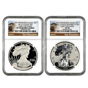 2012 S Silver American Eagle 2pc Proof Set PF70 ER NGC Trolley Label