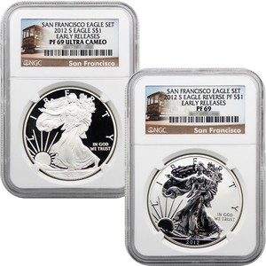 2012 S Silver American Eagle 2pc Proof Set PF69 ER NGC San Francisco Label