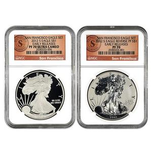 2012 S Silver American Eagle 2pc Proof Set PF70 ER NGC San Francisco Label