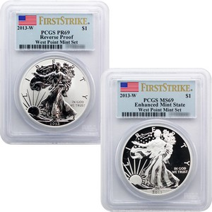 2012 S Silver American Eagle 2pc Proof Set PR69 FS PCGS Flag Label