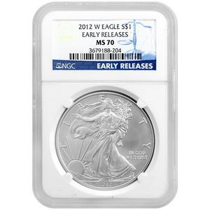 2012 W Silver American Eagle MS70 Burnished ER NGC Blue Label