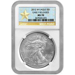 2012 W Silver American Eagle MS70  Burnished ER NGC Star Label