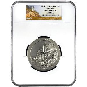 2012 P America The Beautiful Silver 5oz Acadia SP69 ER NGC