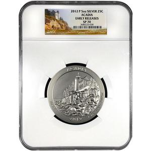 2012 P America The Beautiful Silver 5oz Acadia SP70 ER NGC