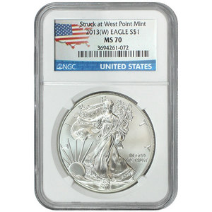 2013 W Silver American Eagle Struck at West Point MS70 NGC Country Label
