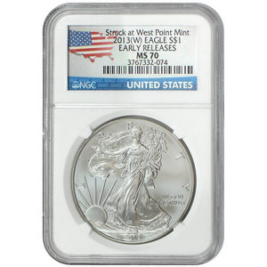 2013 W Silver American Eagle Struck at West Point MS70 ER NGC Country Label