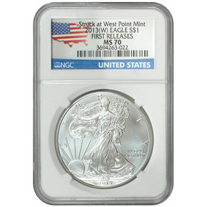 2013 W Silver American Eagle Struck at West Point MS70 FR NGC Country Label