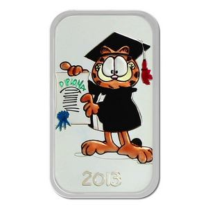 2013 Garfield Graduation 1oz .999 Silver Bar Enameled
