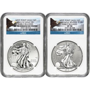 2013 W Silver American Eagle West Point 2pc Silver Set NGC 70 ER Bald Eagle Label