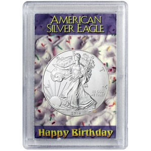2013 Silver American Eagle H.E. Harris Happy Birthday Case BU