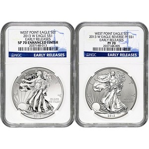 2013 W Silver American Eagle West Point 2pc Silver Set NGC 70 ER Blue Label