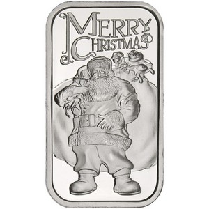 2014 Merry Christmas Santa with Toy Bag 1oz .999 Silver Bar