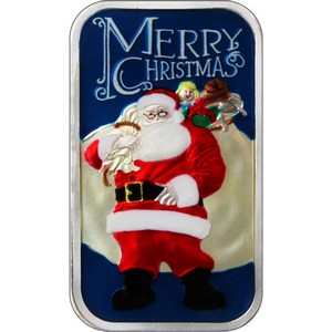 2014 Merry Christmas Santa with Toy Bag 1oz .999 Silver Bar Enameled