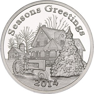 2014 Seasons Greetings Farmhouse 1oz .999 Silver Medallion