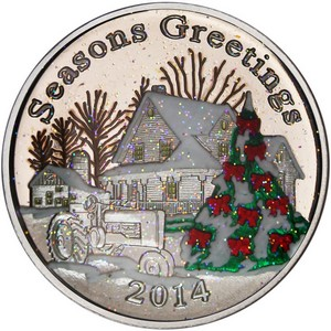 2014 Seasons Greetings Farmhouse 1oz .999 Silver Medallion Enameled