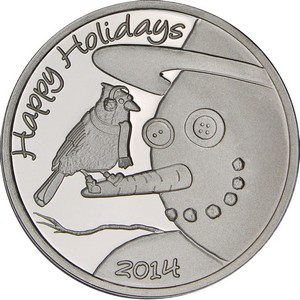 2014 Happy Holidays Snowman and Bird 1oz .999 Silver Medallion
