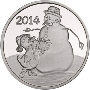 2014 Snowman and Penguin Gift 1oz .999 Silver Medallion