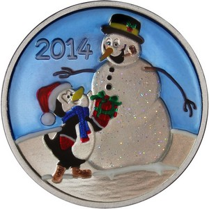 2014 Snowman and Penguin Gift 1oz .999 Silver Medallion Enameled