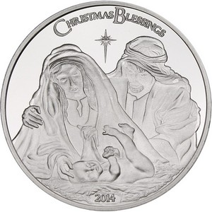 2014 Christmas Blessings Nativity 1oz .999 Silver Medallion