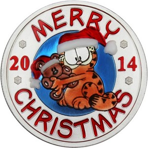 2014 Merry Christmas Garfield and Pooky 1oz .999 Silver Medallion Enameled